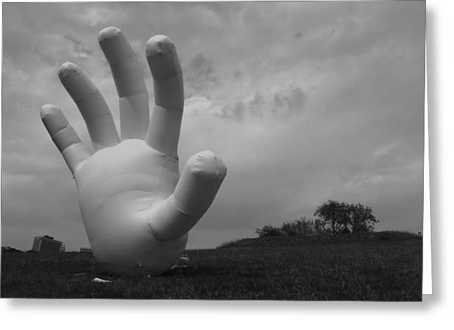 Balloon Hand Greeting Card by Nina Mirhabibi
