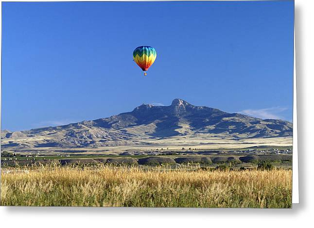 Balloon Over Heart Mountain Greeting Card by Lora Ballweber