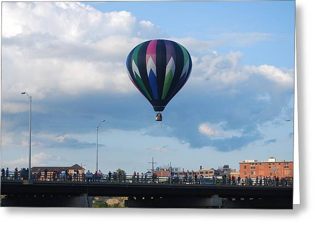 Balloon Over The Bridge Greeting Card by Alan Holbrook