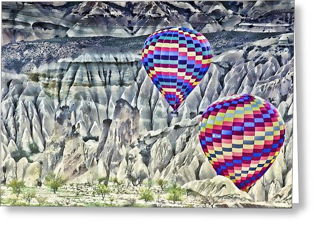 Balloon Rides In Cappadocia Greeting Card by Beverly Hanson