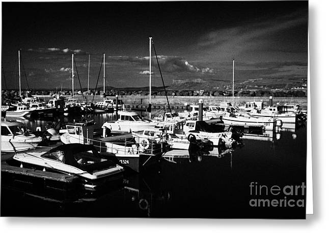 Ballycastle Harbour And Marina With Fair Head In The Background County Antrim Northern Ireland Greeting Card