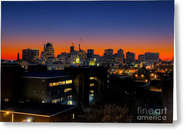 Greeting Card featuring the photograph Baltimore At Sunset by Mark Dodd