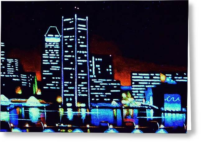 Baltimore By Black Light Greeting Card by Thomas Kolendra
