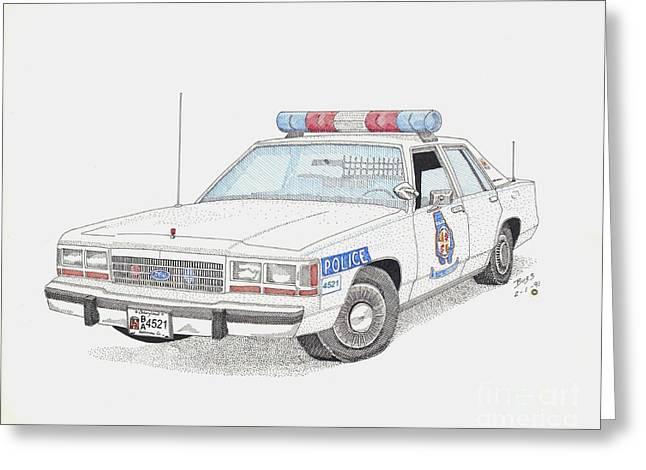 Baltimore County Police Car Greeting Card by Calvert Koerber