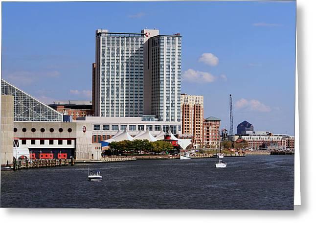 Baltimore Harbor Greeting Card by Karen Harrison