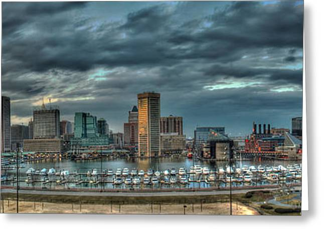 Greeting Card featuring the photograph Baltimore Inner Harbor Pano by Mark Dodd