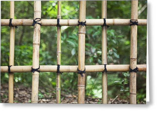 Bamboo Fence Detail Meiji Jingu Shrine Greeting Card by Bryan Mullennix