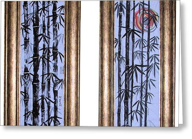Greeting Card featuring the painting Bamboo Forest - Dyptech by Alethea McKee