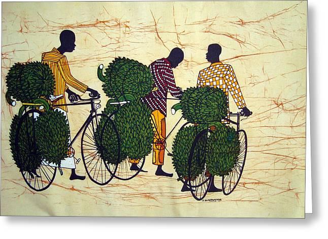 Banana Cyclists Greeting Card by Joseph Kalinda