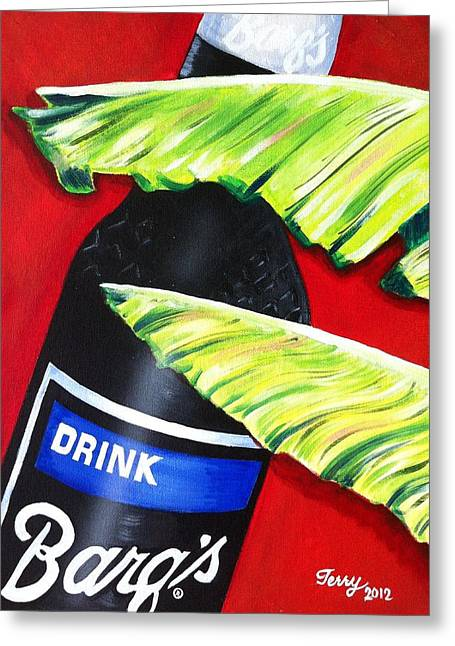 Banana Leaf Series - Barq's Rootbeer Greeting Card by Terry J Marks Sr