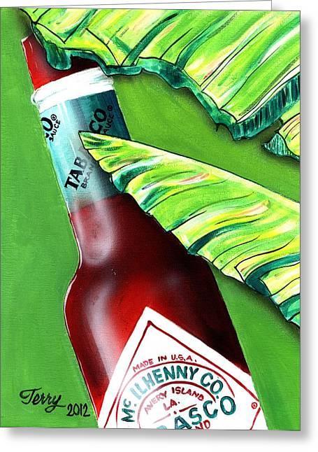Banana Leaf Series - Tabasco Bottle Greeting Card by Terry J Marks Sr