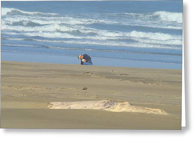 Bandon Oregon Beach Comber Prints Ocean Coastal Greeting Card by Baslee Troutman