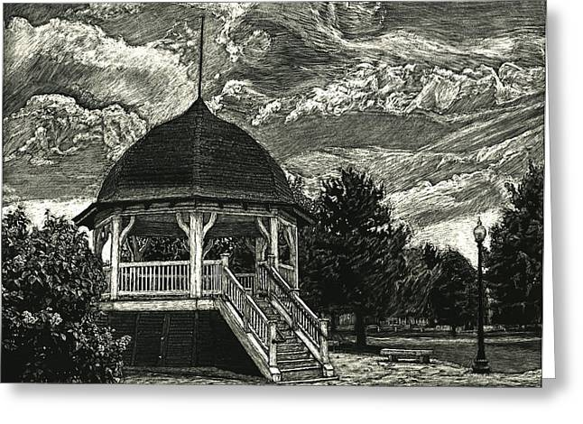 Bandstand On The Commons Greeting Card by Robert Goudreau