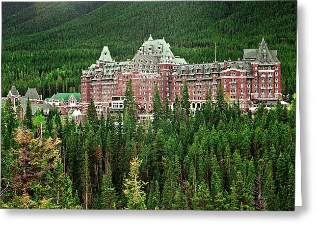 Banff Hotel 1607 Greeting Card by Larry Roberson