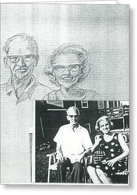 Bank Gal Parents Portrait Greeting Card by Valerie VanOrden