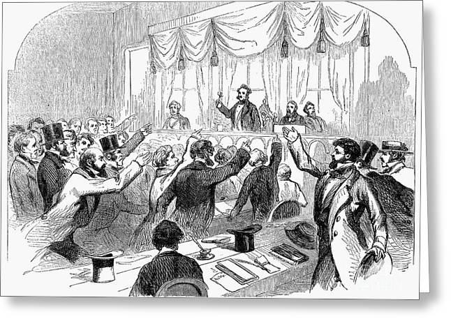 Bank Panic Of 1857 Greeting Card by Granger