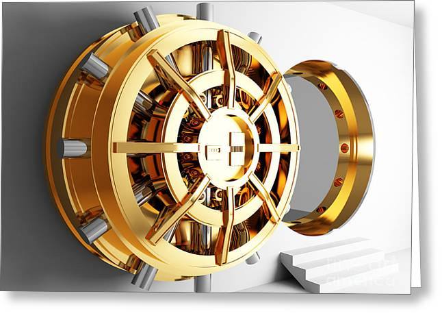 Bank Vault Door 3d Greeting Card by Gualtiero Boffi