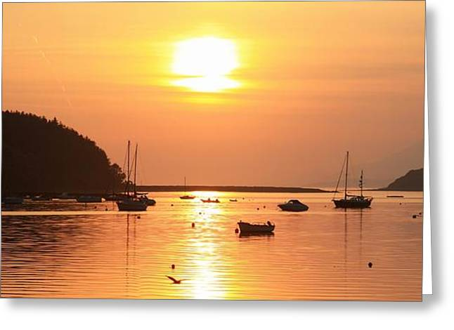 Bantry Bay,co Cork,irelandsunset Over Greeting Card
