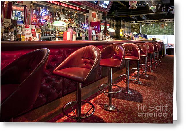 Bar At An American Style Diner Greeting Card by Jaak Nilson