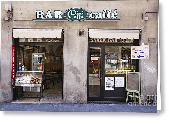 Bar Caffe Greeting Card by Jeremy Woodhouse
