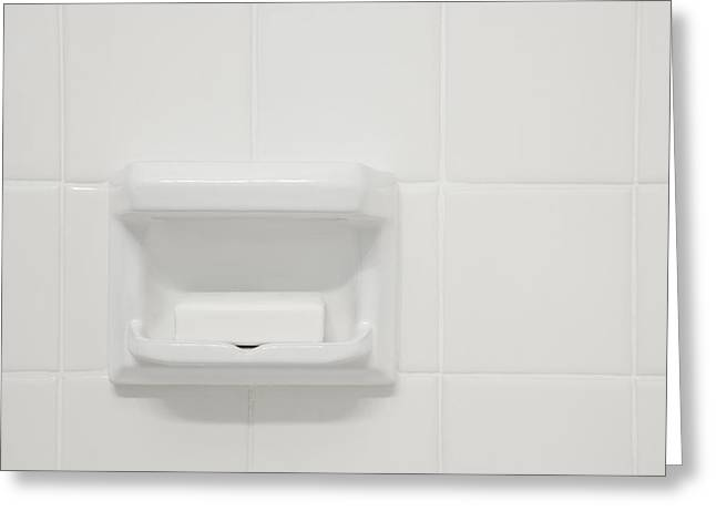 Bar Of Soap In Tiled Shower Greeting Card