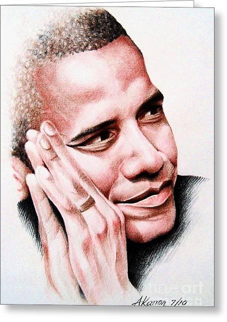 Barack Obama Greeting Card by A Karron