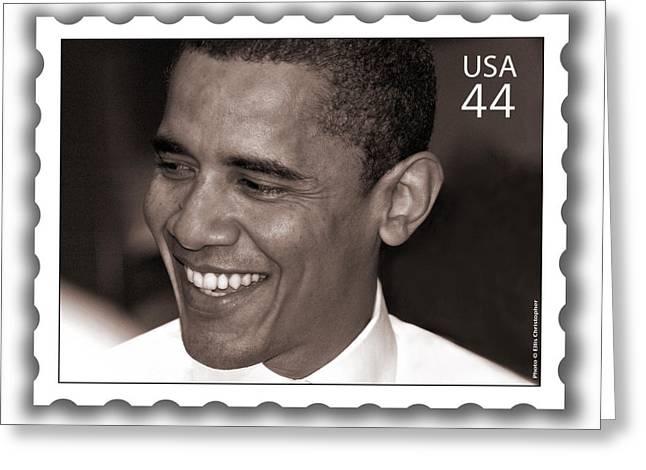 Barack Obama Portrait. Photographer Ellis Christopher Greeting Card by Ellis Christopher
