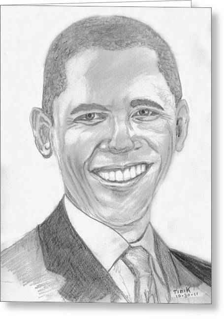 Barack Obama Greeting Card by Tibi K