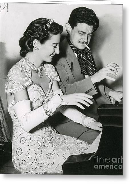 Barbara Stanwyck & Preston Sturges Greeting Card by Photo Researchers