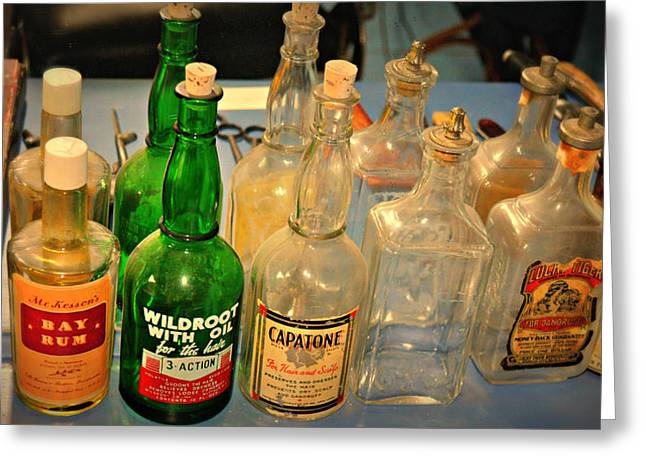 Barber Bottles Greeting Card by Marty Koch