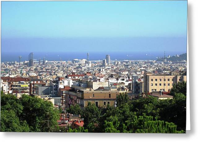 Barcelona Close Up View From Park Guell In Spain Greeting Card by John Shiron