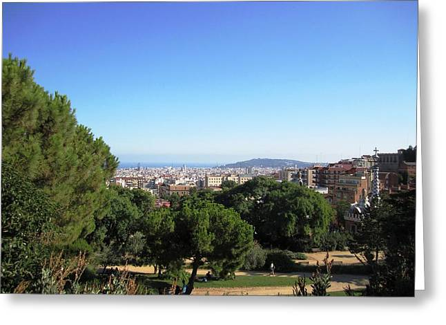 Barcelona Panoramic View From Park Guell In Spain Greeting Card by John Shiron