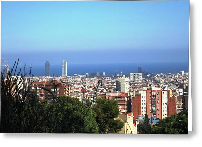 Barcelona Panoramic View IIi From Park Guell In Spain Greeting Card by John Shiron