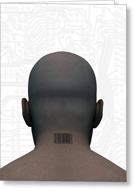 Barcoded Man, Artwork Greeting Card by Victor Habbick Visions