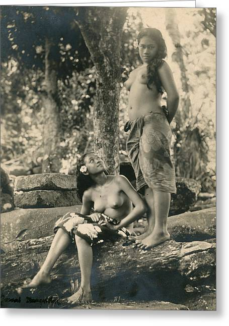 Bare-breasted Marquesas Islands Girls Greeting Card by J.W. Church