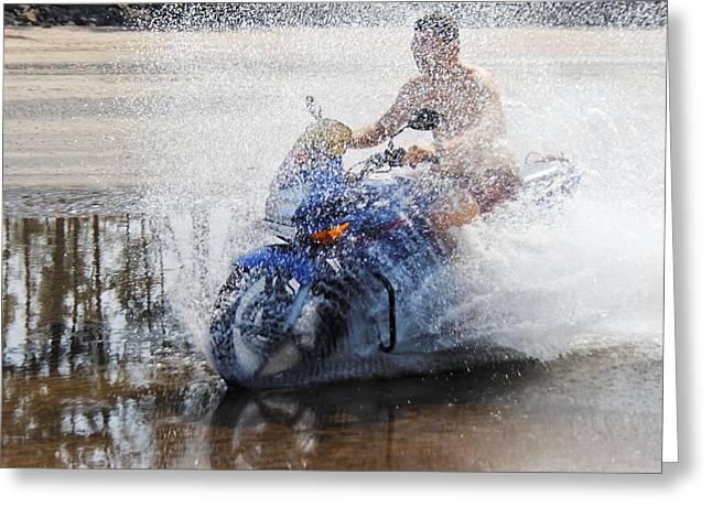 Bare Chest Rider Splash Greeting Card by Kantilal Patel