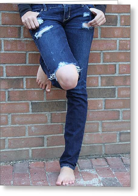 Barefeet And Blue Jeans Greeting Card by Rebecca Powers