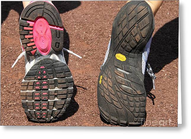 Barefoot Running Shoe And Normal Greeting Card by Photo Researchers, Inc.