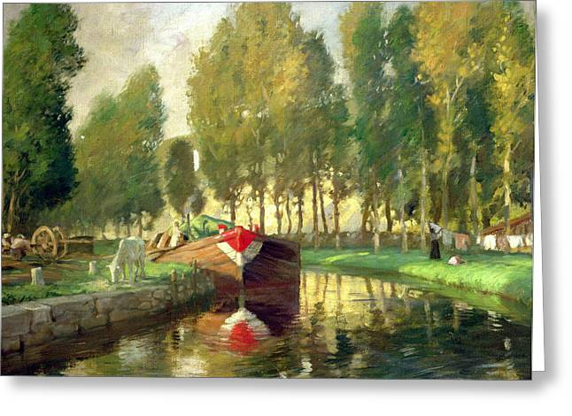 Barge On A River Normandy Greeting Card