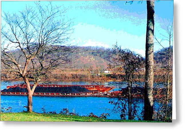 Barge On Ohio River At Flood Stage Greeting Card