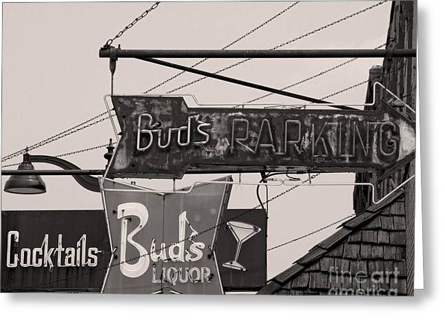 Greeting Card featuring the photograph Barhopping At Buds 1 by Lee Craig