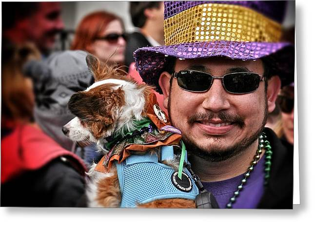 Greeting Card featuring the photograph Barkus Mardi Gras Parade by Jim Albritton