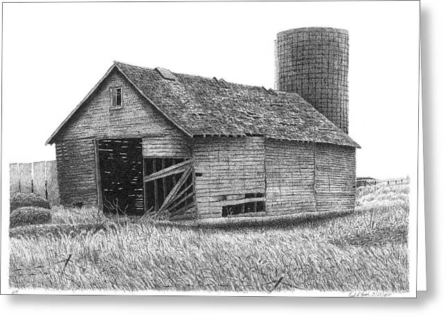 Old Barn Pen And Ink Greeting Cards - Barn 19 Greeting Card by Joel Lueck