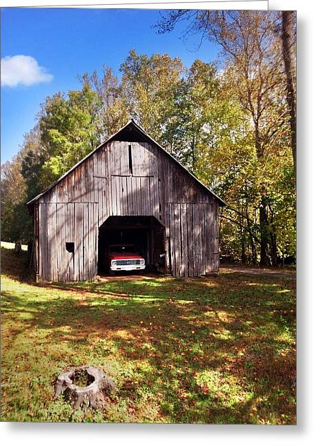 Greeting Card featuring the photograph Barn An Chevy by Janice Spivey