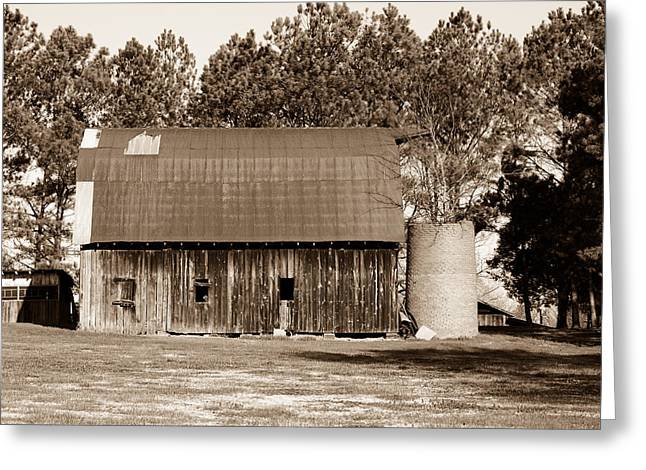 Barn And Silo 1 Greeting Card by Douglas Barnett