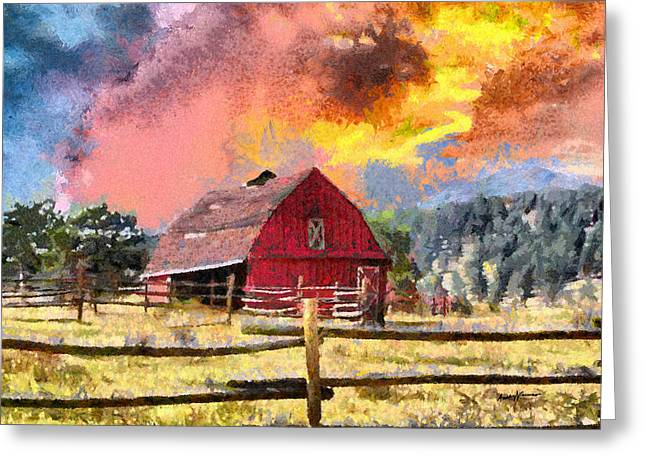 Barn And Sky Greeting Card by Anthony Caruso