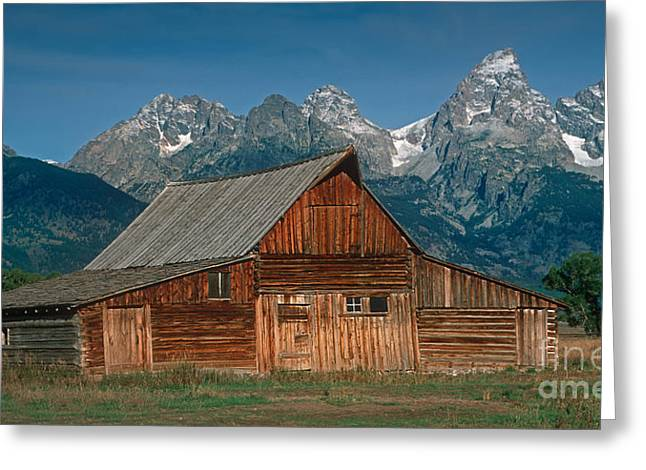 Barn And Tetons Greeting Card by Jerry Fornarotto