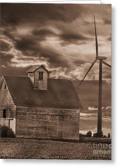 Barn And Windmill Greeting Card by Jim Wright