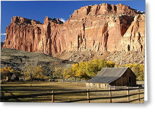 Greeting Card featuring the photograph Barn At Capital Reef by Geraldine Alexander