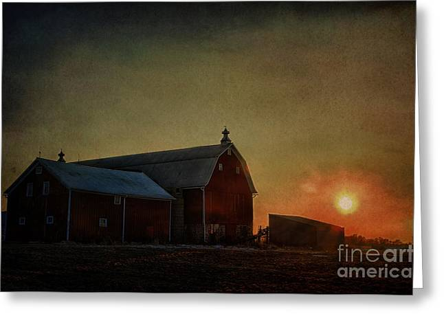 Barn At Sunset Greeting Card by Joel Witmeyer